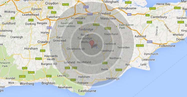 Map for Roofers Tunbridge Wells